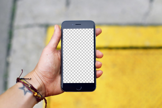 iPhone 7 mockup on the street