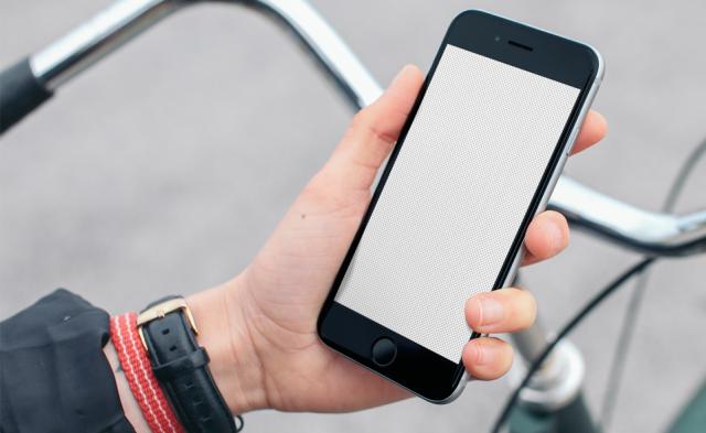 iPhone 6 mockup on bike