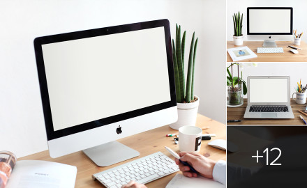 Photorealistic iMac & Macbook mockups